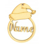 Laser Cut Personalised Santa Hat Christmas Bauble - Bob Font