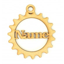 Laser Cut Personalised Steampunk Cog Christmas Bauble - Cla Font