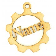 Laser Cut Personalised Steampunk Cog Christmas Bauble - Vic Font