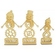 Laser Cut Personalised Single Steampunk Snowman Family - Stencil Names in Plinths