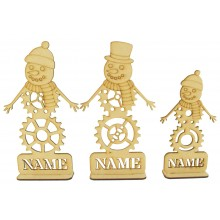 Laser Cut Personalised Single Steampunk Snowman Family - Stencil Names in Plinths