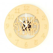 Laser cut 'Home Sweet Home' Clock with Clock Mechanism