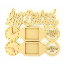 Laser Cut Personalised 'Our Perfect Little Family' Clocks, Photo Frames and Dates of Birth - Star Design