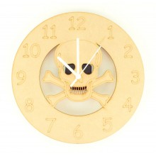 Laser cut Skull and Crossbones Clock with Clock Mechanism