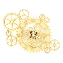 Laser Cut Large Multi Cogs Steampunk Clock with Clock Mechanism