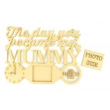 Laser Cut Personalised 'The Day You Became My Mummy' Clock, Photo Frame and Date of Birth - Heart Design