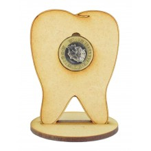 Laser Cut Tooth £1 Coin Holder on a stand