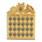 Laser Cut Christmas Countdown £1 Coin Holder - Football Shapes