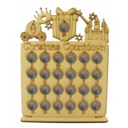 Laser Cut Christmas Countdown £1 Coin Holder - Princess Shapes