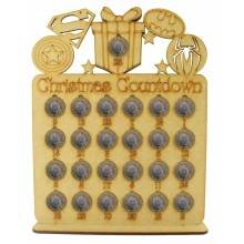 Laser Cut Christmas Countdown £1 Coin Holder - Superhero Shapes