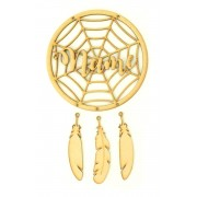 Laser Cut Personalised Halloween Dream Catcher with Hanging Feathers and 3D Name