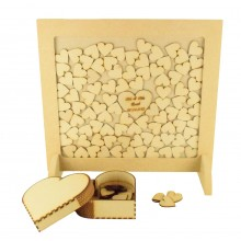 18mm Freestanding MDF Square Frame Drop Box on Two Stands - 40mm Hearts