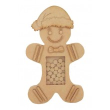Freestanding MDF 3D Gingerbread Christmas Countdown Dropbox - Plain Tokens