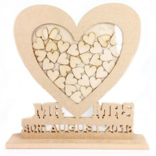 Freestanding MDF Personalised Unique Design  Mr & Mrs Heart Drop Box - Heart Tokens