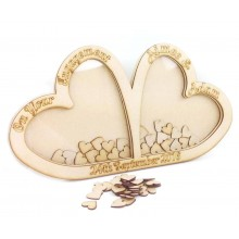 Personalised Freestanding MDF Large Unique Design Double Heart Drop Box - Heart Tokens