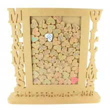 Freestanding MDF Personalised Large Unique Design  Mr & Mrs Drop Box - Heart Tokens