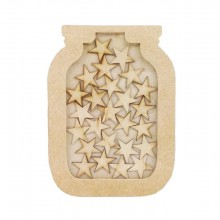 Freestanding MDF Small Reward Chart Jar Drop Box - Star Tokens