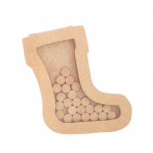 Freestanding MDF Small Christmas Stocking Countdown Dropbox  - Plain Tokens