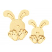 18mm Freestanding MDF 3D Cute Sitting Easter Rabbits - Options Available