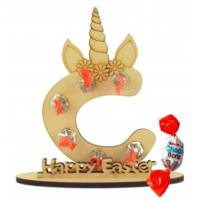 6mm Personalised Unicorn Letter Kinder Choco Bon Holder on a Stand - Stand Options
