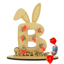 6mm Personalised Easter Bunny Letter Kinder Choco Bon Holder on a Stand - Stand Options