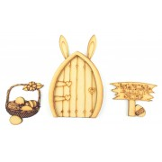 Laser Cut Etched Magic Easter Bunny Door with Sign & Easter Basket
