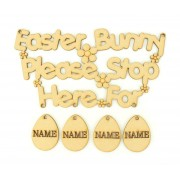 Laser Cut Personalised 'Easter Bunny Stop Here For' Sign with Hanging Eggs