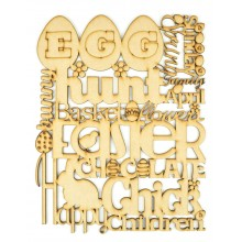 Laser Cut Easter Word Collage Sign