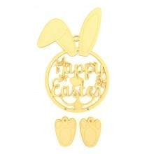 Laser Cut 'Happy Easter' Easter Rabbit Dream Catcher with Hanging Feet