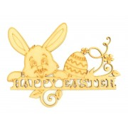 Laser Cut 'Happy Easter' Sign with Cute Rabbit Head and Easter Egg Shapes