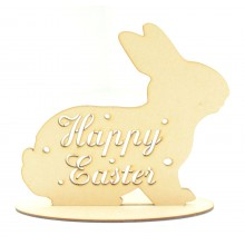 Laser Cut 'Happy Easter' Rabbit on a stand