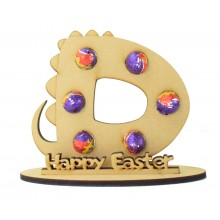 6mm Personalised Dinosaur Letter Mini Creme Egg Holder on a Stand - Stand Options