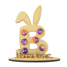 6mm Personalised Easter Bunny Letter Mini Creme Egg Holder on a Stand - Stand Options