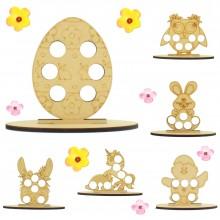 6mm Girls Easter Themed Mini Creme Egg Holder on a Plain Stand - Bargain Pack of 12 (Design 2)