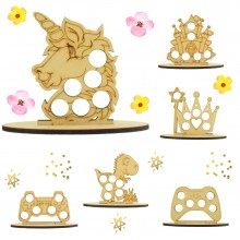 6mm Mixed Boys & Girls Easter Themed Mini Creme Egg Holder on a Plain Stand - Bargain Pack of 12