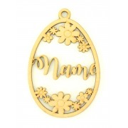 Laser Cut Personalised Easter Egg Frame with Flower Detail. Easter Bauble - Water Font