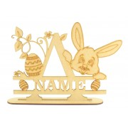 Laser Cut Personalised Easter Letter on a Stand with Rabbit Head and Easter Egg