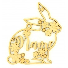 Laser Cut Personalised Easter Rabbit Frame with Flower Detail. Easter Bauble - Water Font
