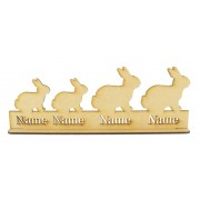 Laser Cut Personalised Easter Rabbit Family on a Stand - 3mm