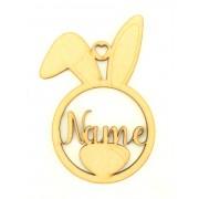 Laser Cut Personalised Rabbit Head Easter Bauble - Bob Font