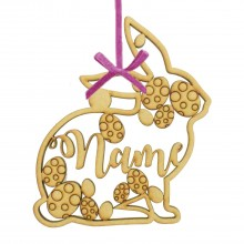 Laser Cut Personalised Easter Rabbit Frame with Easter Egg Shape Detail. Easter Bauble - Water Font