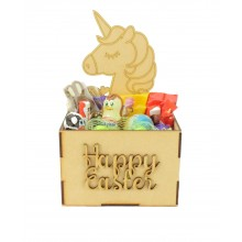Laser Cut Easter Hamper Treat Boxes - Unicorn Shape