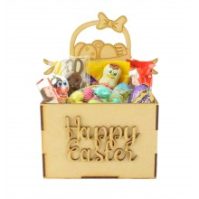 Laser Cut Easter Hamper Treat Boxes - Easter Basket with Little Rabbits Shape