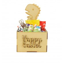 Laser Cut Easter Hamper Treat Boxes - Dinosaur Shape