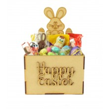 Laser Cut Easter Hamper Treat Boxes - Easter Bunny with lots of Eggs Shape