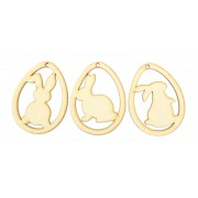 Laser Cut Easter Egg Decorations with Rabbit Silhouettes Inside (Set of 3)