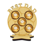 6mm Best Dad Football Ferrero Rocher Holder on a Star Stand