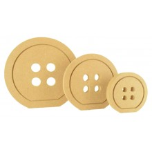 18mm MDF Freestanding Button Shape with Engraved Detail - Flat Bottom To Stand