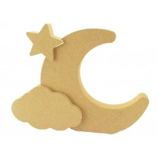 18mm Freestanding MDF Moon with Interlinking Cloud & Star Shapes