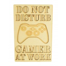 Laser Cut 'Do Not Disturb. Gamer At Work' Gaming Plaque - X-Box Controller - Stencil Wording - Layered Plaque Design